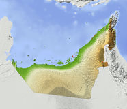 Emirados árabes, mapa de relevo protegido Ilustração Royalty Free