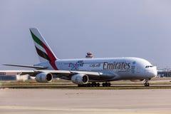 Emirados Airbus A380-800 no aeroporto de Francoforte Foto de Stock Royalty Free