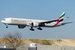 Emirados de A6-EBZ, Boeing 777-31H Foto de Stock Royalty Free
