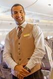 Emirat załoga członek w Boeing-777 samolocie Fotografia Royalty Free