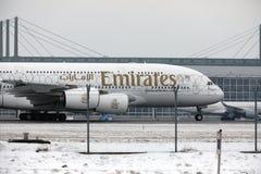 Emirate Airbus A380-800 A6-EEB, München-Flughafen MUC Stockbilder