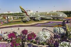 Emirate Airbus am Wunder-Garten in Dubai Lizenzfreies Stockfoto