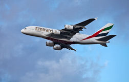 Emirates A380 Airbus taking off Royalty Free Stock Image