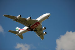 Emirates A380 on approach Royalty Free Stock Image