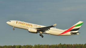 Emirates Airbus A330. Qatar Airbus A330 taking off from Manchester Airport royalty free stock images