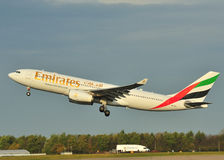 Emirates Airbus A330. Taking off from Manchester Airport stock photography