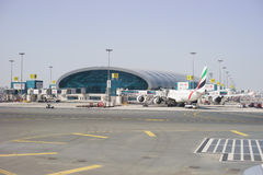 Emirates Airbus A340 at Dubai Airport on February  Royalty Free Stock Photography