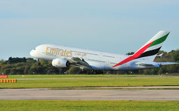 Emirates Airbus A380. Taking off from Manchester Airport royalty free stock image