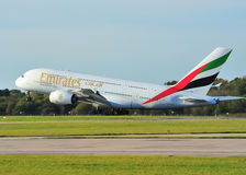 Emirates Airbus A380. Emirates Airbus A330 taking off from Manchester Airport stock image