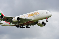 Emirates Airbus A380. Landing at Manchester airport royalty free stock photo