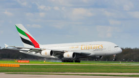 Emirates Airbus A380. Landing at Manchester Airport stock photos