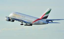Emirates Airbus A380. Emirates Airbus A330 taking off from Manchester Airport stock photography