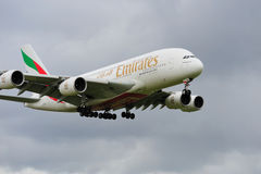 Emirates Airbus A380. Landing at Manchester Airport royalty free stock photos
