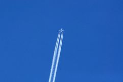 Emirates Airbus A380 against a blue sky. Royalty Free Stock Images