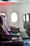Emirates Airbus A380 aircraft interior Royalty Free Stock Photo