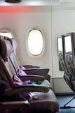 Emirates Airbus A380 aircraft interior Royalty Free Stock Photo