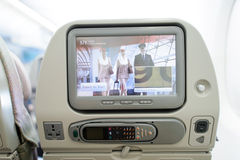 Emirates Airbus A380 aircraft interior Royalty Free Stock Photography