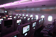 Emirates Airbus A380 aircraft interior Royalty Free Stock Photos