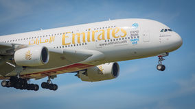 Emirates Airbus A380-861 aircraft Stock Image