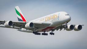 Emirates Airbus A380-861 aircraft Royalty Free Stock Photo