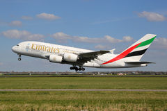 Emirates Airbus A380 airplane Royalty Free Stock Photo