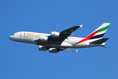 Emirates Airbus A380 airplane Royalty Free Stock Photography