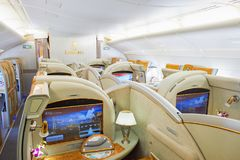 Emirates Airbus A380. BANGKOK, THAILAND - MARCH 31, 2015: interior of Emirates Airbus A380. Emirates is one of two flag carriers of the United Arab Emirates Royalty Free Stock Photography