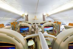 Emirates Airbus A380. BANGKOK, THAILAND - MARCH 31, 2015: interior of Emirates Airbus A380. Emirates is one of two flag carriers of the United Arab Emirates Royalty Free Stock Images