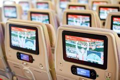 Emirates Airbus A380. BANGKOK, THAILAND - SEPTEMBER 09, 2015: inside of Emirates Airbus A380. The Airbus A380 is a double-deck, wide-body, four-engine jet Royalty Free Stock Images