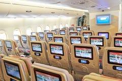 Emirates Airbus A380. BANGKOK, THAILAND - SEPTEMBER 09, 2015: inside of Emirates Airbus A380. The Airbus A380 is a double-deck, wide-body, four-engine jet Stock Image