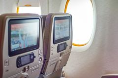 Emirates Airbus A380. BANGKOK, THAILAND - SEPTEMBER 09, 2015: inside of Emirates Airbus A380. The Airbus A380 is a double-deck, wide-body, four-engine jet Royalty Free Stock Photography