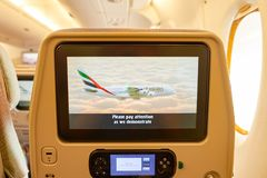 Emirates Airbus A380. BANGKOK, THAILAND - SEPTEMBER 09, 2015: inside of Emirates Airbus A380. The Airbus A380 is a double-deck, wide-body, four-engine jet Stock Photography
