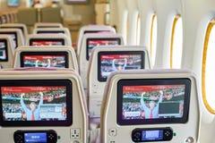 Emirates Airbus A380. BANGKOK, THAILAND - SEPTEMBER 09, 2015: inside of Emirates Airbus A380. The Airbus A380 is a double-deck, wide-body, four-engine jet Royalty Free Stock Photo