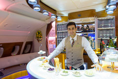 Emirates Airbus A380 business class interior. HONG KONG - JUNE 18, 2015: Emirates Airbus A380 business class interior. Emirates is one of two flag carriers of Royalty Free Stock Photos