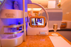 Emirates Airbus A380 business class interior Royalty Free Stock Photos
