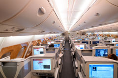 Emirates Airbus A380 business class interior. HONG KONG - JUNE 18, 2015: Emirates Airbus A380 business class interior. Emirates is one of two flag carriers of Royalty Free Stock Images