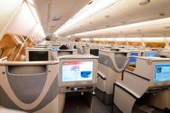 Emirates Airbus A380 business class interior Stock Photos