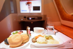 Emirates Airbus A380 business class interior. HONG KONG - JUNE 18, 2015: Emirates Airbus A380 business class interior. Emirates is one of two flag carriers of Stock Photo