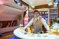 Emirates Airbus A380 business class interior Stock Photos