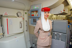Emirates Airbus A380 crew member Royalty Free Stock Photo