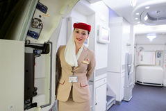 Emirates Airbus A380 crew member Stock Photos