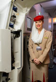Emirates Airbus A380 crew member Royalty Free Stock Photography