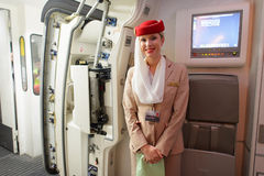 Emirates Airbus A380 crew member Royalty Free Stock Photos