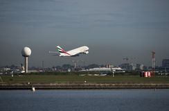 Emirates A380 Airbus departs Kingsford-Smith airport. Sydney Stock Images