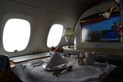 Emirates Airbus A380. DUBAI, UAE - MARCH 31, 2015: Emirates Airbus A380 interior. Emirates is one of two flag carriers of the United Arab Emirates along with Royalty Free Stock Photos