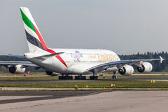 Emirates Airbus A380-800 at the Frankfurt Airport Royalty Free Stock Images
