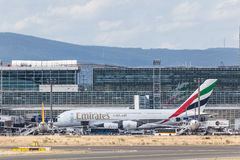 Emirates Airbus A380 in Frankfurt Main Royalty Free Stock Photography