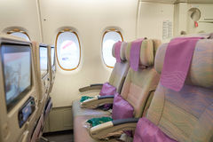 Emirates Airbus A380. HONG KONG - MAY 12, 2016: inside of Emirates Airbus A380. The Airbus A380 is a double-deck, wide-body, four-engine jet airliner Royalty Free Stock Photos