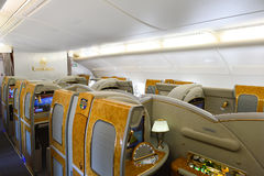 Emirates Airbus A380 interior. BANGKOK, THAILAND - MARCH 31, 2015: Emirates Airbus A380 interior. Emirates is one of two flag carriers of the United Arab Royalty Free Stock Images