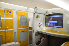 Emirates Airbus A380 interior Royalty Free Stock Images